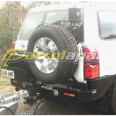 Nissan Patrol GU Y61 Raslarr Rear Bar with Dual Jerry Can Holder and Tyre Swing Away