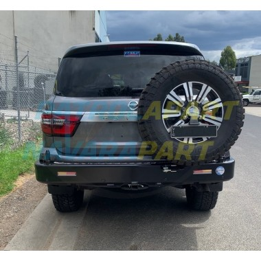 Nissan Patrol Y62 Kaymar Rear Bar with Right Tyre Carrier & Left Twin Jerry Can Holder TI & Ti-L Series 5