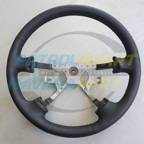 Black Leather Steering Wheel for Nissan Patrol GU Y61 Series 4 on