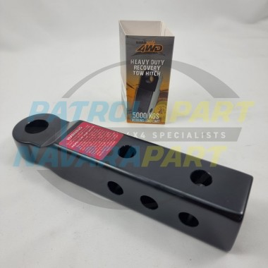 Alloy 5000kg Rated 50x50mm Receiver Black Extended Recovery Hitch by Roadsafe for 4wd 4X4