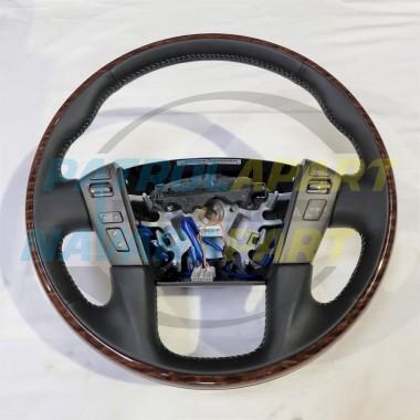 Genuine Nissan Patrol Y62 Black Leather Woodgrain Steering Wheel