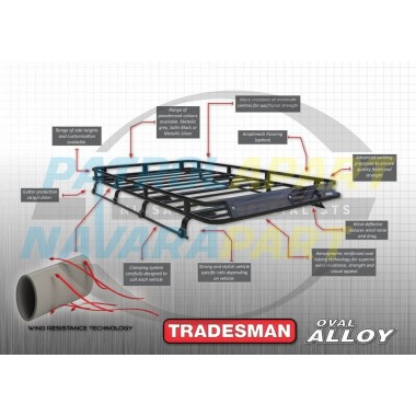 Tradesman Roof Rack Full Length Alloy with Mesh Floor