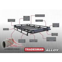 Tradesman Roof Rack Full Length Alloy Flat Rack with Mesh Floor