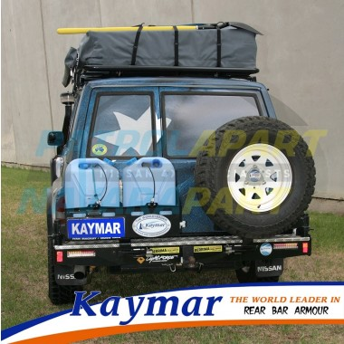 Nissan Patrol GQ Rear Kaymar Bar with LHS Spare Tyre Carrier & RHS Dual Jerry Can Holder
