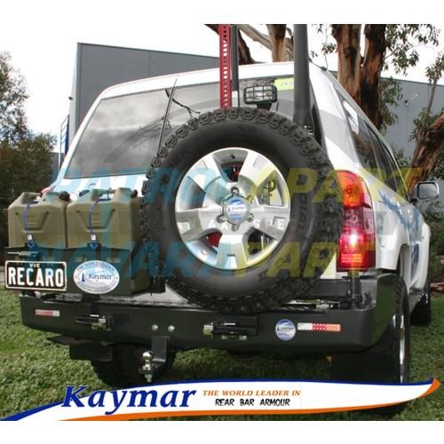 Nissan Patrol GU Kaymar Rear Bar RHS Wheel Carrier & LHS Dual Jerry Can Holder