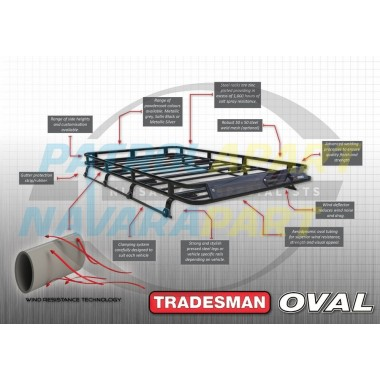 Tradesman Roof Rack Full Length Steel Flat Rack with Steel Mesh Floor