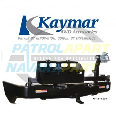 Nissan Patrol Y62 Kaymar Rear Bar with Right Tyre Carrier & Left Twin Jerry Can Holder ST-L & TI Series 4